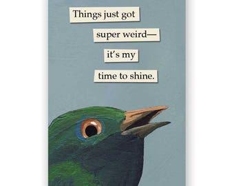 Things Just Got Super Weird Magnet - Bird - Humor - Gift - Stocking Stuffer - Mincing Mockingbird