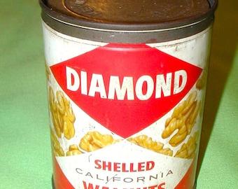 Diamond shelled California walnuts vintage tin can metal peanuts