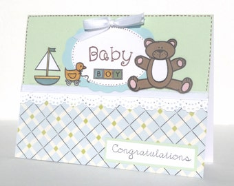 Baby Boy Congratulations Greeting Card - Handmade Paper Card for New Mom, Baby Shower