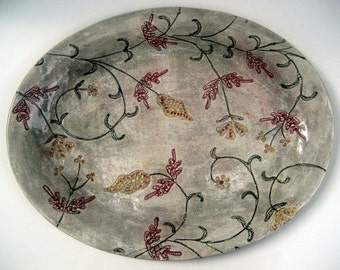 Handmade Large ceramic stoneware clay platter with floral design