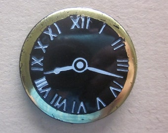 Plastic Clock Button  Time is Eight Seventeen or Eighteen. Gold Luster Trim  OneWomanRepurposed B 596