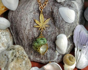 Green Sea Shell and Cannabis Leaf Chain Necklace.