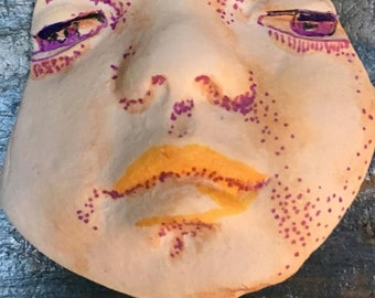 clay face jewelry craft supplies  handmade cabochon green blue woman  mask  polymer  indings   doll parts head mask stripes tribal