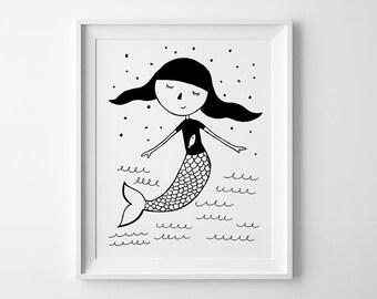 Mermaid print, kids wall art, nursery wall print, Mini learners nursery art, best selling items, baby girl nursery print, playroom prints