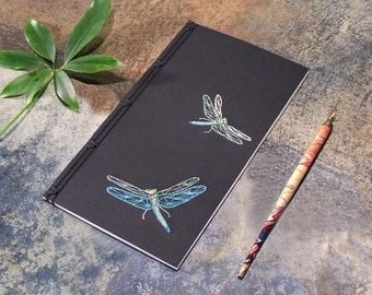 Dragonfly Journal. Embroidered Notebook. Nature Notebook. Dragonfly Notebook. Poetry Journal. Gift for Him. Gift for Her. Entomology Journal