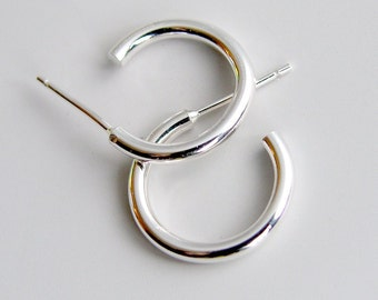 Sterling Silver Hoops Small Classic Stud Earrings 15mm Silver Studs