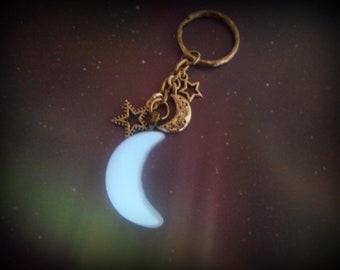 Luna Nox Fleuret / Lunafreya Nox Fleuret Final Fantasy XV, FF - Crescent Moon and Glow in the Dark Crescent Moon Key Chain Necklace etc.