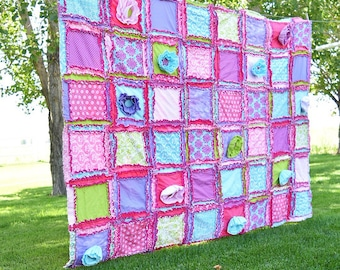 Girl Bedding Twin Size Quilt - Pink / Turquoise/ Lime / Purple- Twin Bed Girl Rag Quilt- Girl Bedding Twin- Girl Duvet Cover Daybed Bedding