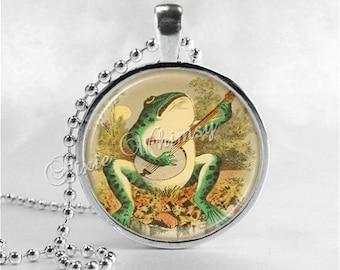 FROG Necklace, Frog Playing Banjo, Frog Band, Frog Pendant, Frog Jewelry, Frog Charm, Glass Photo Art Bezel Necklace, Anthropomorphic Frog