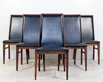 Mid Century Modern Milo Baughman for Dillingham Set 6 Side Dining Chairs 1960s