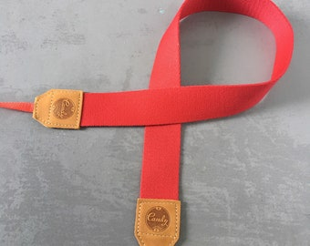 Red camera strap, Camera Strap, leather camera Strap ,Gift for her