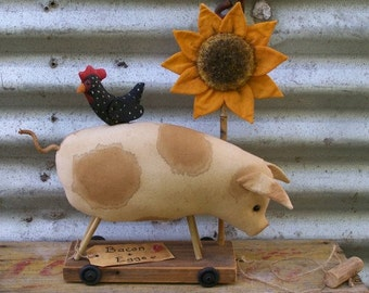 PULL TOY PIG Vintage Style with Chicken and Sunflower, Prim Pattern