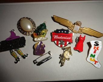 Mixed lot variety mixed items destash or wear-brooch-pin-brooch gift- lapel- ladies brooch- broach--brooch vintage