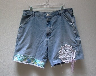 carpenter's daughter. plus size XL denim cut offs high waist jean shorts . vintage wrangler W38 upcycled clothing . tattered silk lace doily
