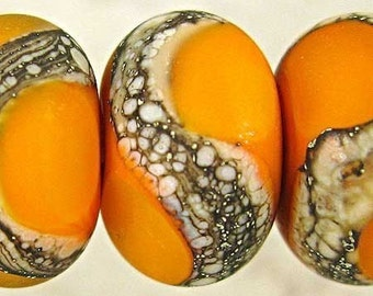 Handmade Lampwork Glass Bead Set of 6 Frosted Etched Finish with Webbed with Silvered Ivory Small 11x7mm Orange Velvet