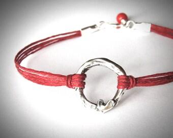 Silver Heart bracelet, Circle Harmony bracelet, friendship, anniversary, love, bridesmaid, graduation gift, ready to ship, gift for woman
