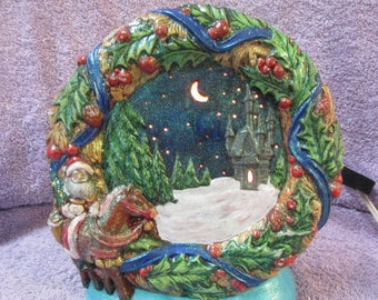 Hand Painted Lighted Ceramic Christmas Castle Scene
