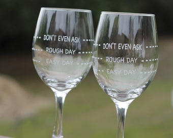 2 Rough Day Wine Glasses, Personalized Wine Glass