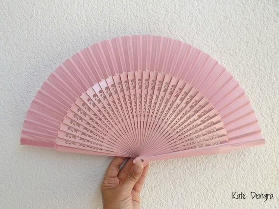 Std Fret Pink Wooden Hand Fan