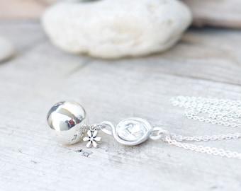Angel caller necklace, Swarovski cabochon handmade pendant, double chain