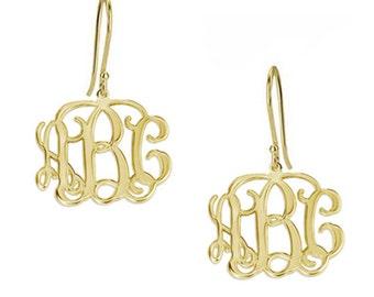 monogram earrings, personalized earrings, 18k yellow gold plated 925 sterling silver custom made 3 initials dangle earrings