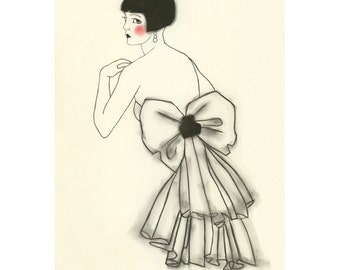 Art Deco fashion drawing - Isabella - 4 X 6 print - 4 for 3 SALE