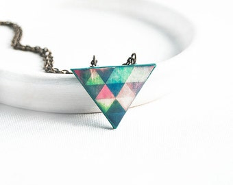 Small triangle pendant, geometric necklace
