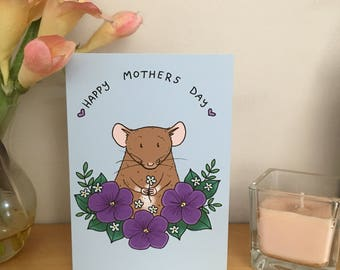 Happy Mother's Day rat greeting card, A6 size, blank inside with white envelope, cute rat card, rat mum mom
