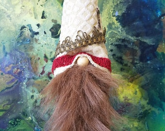Gnome fabric decor Nordic gnome Woody hand made 13 inches up cycled materials recycled materials artbyevelynmarie Art by Evelyn Marie