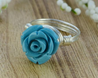 Blue Rose Ring -Sterling Silver, Yellow or Rose Gold Filled Wire Wrapped/Blue Carved Gemstone Rose - Any Size 4 5 6 7 8 9 10 11 12 13 14