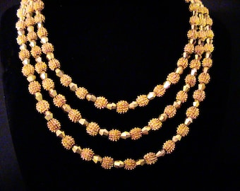 "Vintage TRIFARI ""Electra"" Triple Strand Necklace"