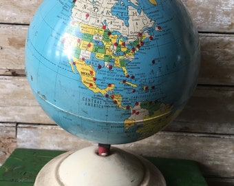Vintage Air Race Globe 1950s Replogle Rare Find