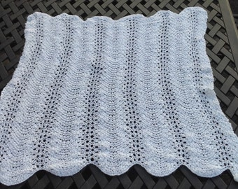 Lacy White Baby Blanket/Feather and Fan Baby Blanket