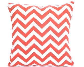 Coral White Chevron Pillow Covers, Cushions, Decorative Throw Pillow, Zig Zag Coral White Euro Sham Couch Bed Sofa Pillows, VARIOUS SIZES