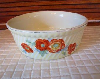 Hall Casserole Dish, Round, #505, Orange Poppy Flower Design