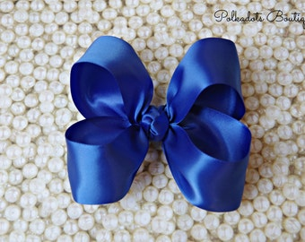 "Royal Blue Satin Large Hair Bow 4"" Christmas Hairbow 4"" Hair Bow Large Hair Bow Girl Hairbow Royal Blue Satin Bow"