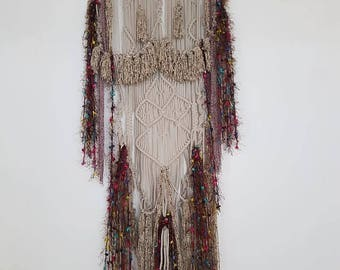 Macramé wallhanging, bamboo, cotton, wool,
