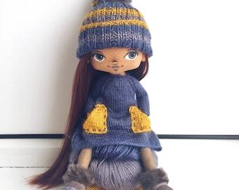 Ooak doll beautiful doll handmade doll art doll textile doll home decor interior doll collecting doll tilda doll Blythe