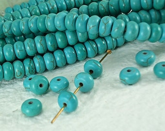 25 Stone Beads Donut Spacer Rondelle Gemstone Real Howlite Turquoise with Dark Brown Veins 8mm x 5mm Natural Beads