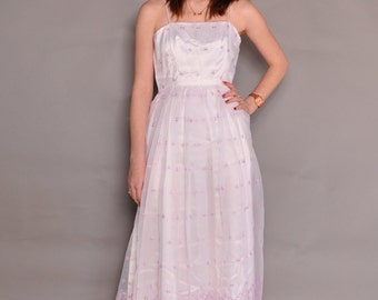 Vintage 70's Sheer Eyelet Dress // sz S // White & Lavender Party Dress // Sweet Spaghetti Strap Sundress