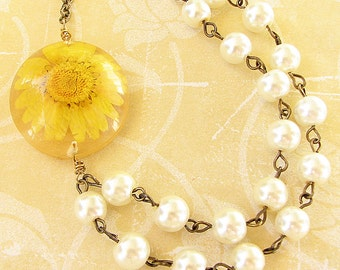 Resin Necklace Real Flower Jewelry Real Flower Necklace Resin Jewelry Pressed Flower Necklace Daisy Necklace