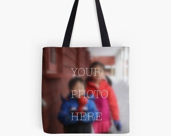 Personalized custom photo tote bag gift, Mother's Day Father's Day graduation wedding favor baby shower grandparents birthday housewarming