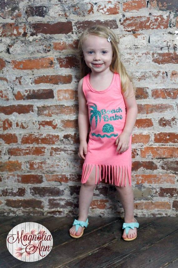 Beach Babe Dress, Summer Dress, Girls Fringe Dress, Little Girls Dress, Girls Beach Dress, Toddler Dress, Infant Dress, Baby Dress