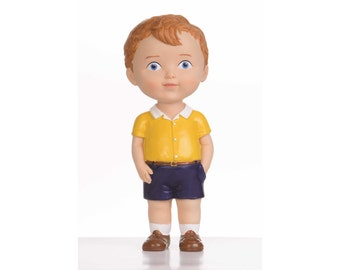 Brown Hair Boy Original Collectible Doll Inspired by Vintage Style Doll Design Home Decor