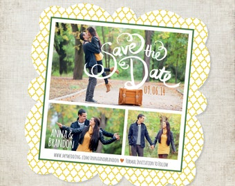 5x5 Yellow and Green Travel Themed Custom Designed Save the Date Magnet with Photos and Moroccan Pattern
