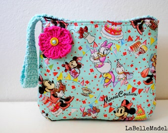 Minnie Mouse Tote, aqua and stripes children's tote, minnie and daisy purse, crochet flower, ooak, gifts for girls, toddler gift, handmade