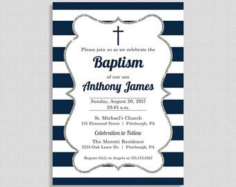 Baptism Invitation,  Baby Boy Baptism Invite, Navy Stripe, Christian, Boy Christening, DIY PRINTABLE