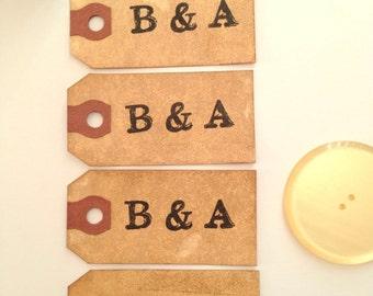 100 Small Wedding Favor Gift Tag. Escort Name Place Card. Travel Theme Luggage Tag. Stamped. Wish Tree. Vintage Hang Tag. Boho. DARK.