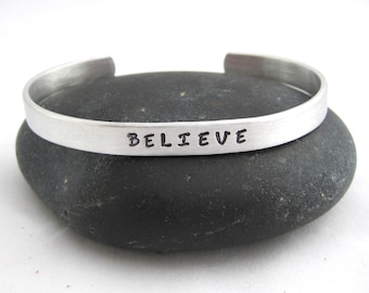 Personalized Cuff Bracelet BELIEVE Aluminum Bracelet Personalized Names Anniversary Birthday Mother's Day Christmas Gift