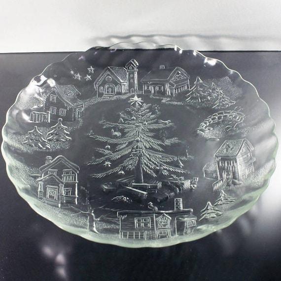 Christmas Village Platter, Christmas Tree Platter, Christmas Platter, Christmas Plate, Serving Plate, Pressed Glass
